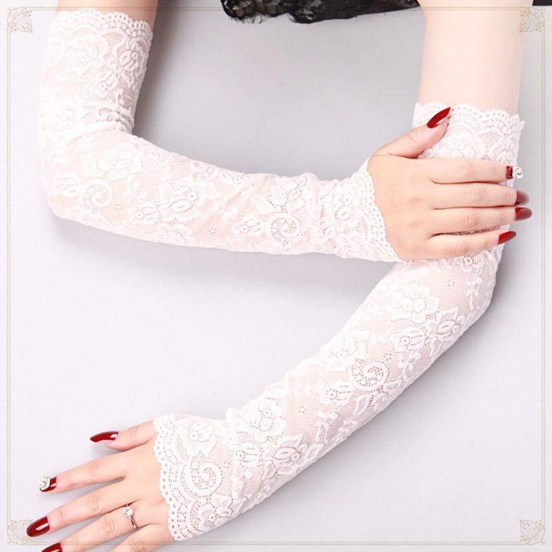 Gloves Punk Dark Lolita Lace Strip Glove Female Arm Long Fake Sleeve Gothic Bracers Cosplay Guantes Mujer Steampunk Accessories
