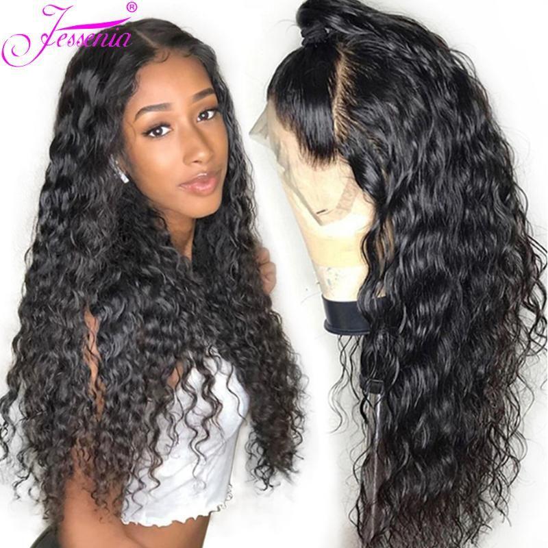La onda de agua de 30 pulgadas Cierre de encaje pelucas del pelo humano peluca 4X4 para las mujeres 150% Densidad frente del cordón de la onda de agua brasileña del cabello humano peluca larga