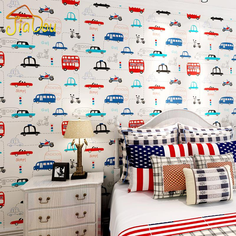 Cartoon Transportation Car Non-woven Wall Paper For Kids Rooms Living Room Sofa Background Wall Decals Home Decoration Wallpaper