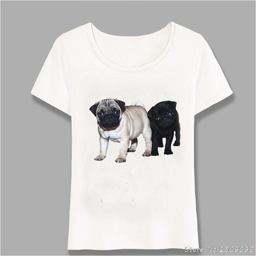 Sommer-Hipster Schwarz KitzPug Welpen T-Shirt Frauen-T-Shirt Neuheit Mädchen Tops Art und Weise Dame Casual T Harajuku Kühle