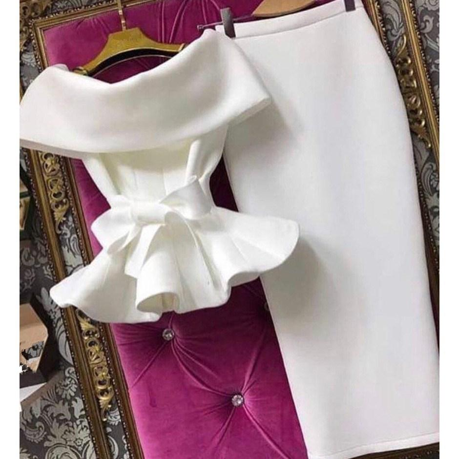 New Women Short Sleeve Ruffle Bow Two Piece Set Solid Lace Up Off Shoulder Tops And Bodycon Skirt Sexy Suits Q190516