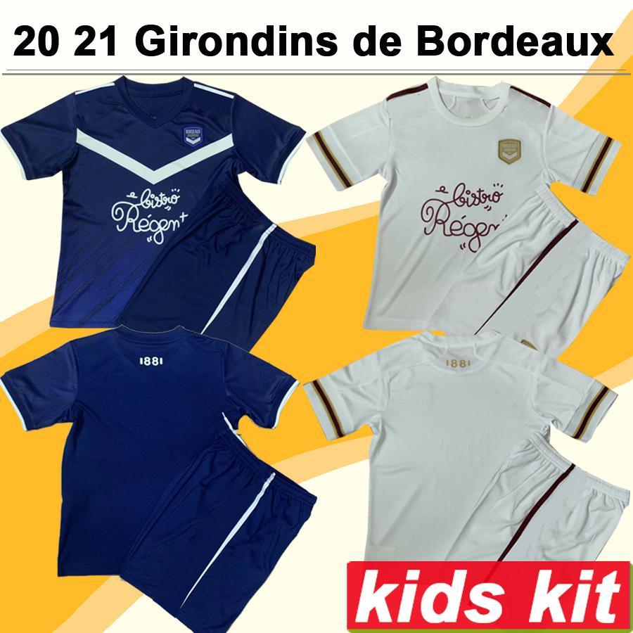 2020 2021 Girondins de Bordeaux Kids Kit Soccer Jerseys BRIAND S.KALU Home Away Child Football Shirt DE PREVILLE BENITO OUDIN Short Sleeve