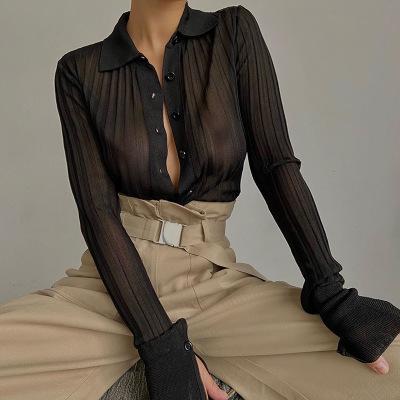 Sexy Mesh Shirts à manches longues transparent vers le bas Tourner Collar solide Casual Streetwear été Office Lady Chemisier Femme Top
