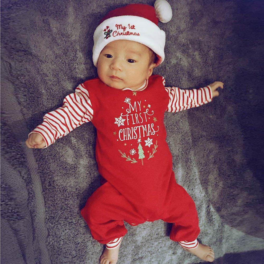 Mon premier Noël de bébé Jumpsuit de Noël Nouveau-né Bébé Filles Garçons Lettre Romper Jumpsuit Ensemble bébé Ensemble Vêtements Outfit fille