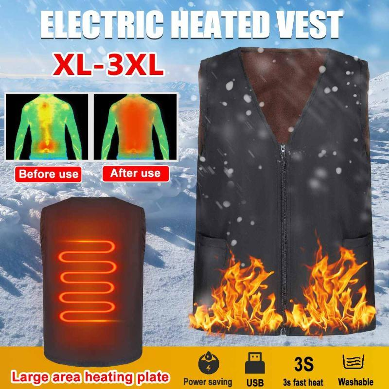 Calentada chaleco USB 5V 3 Chaqueta Engranajes poliéster Calefacción Ropa de invierno Genérico inteligente calefacción chaqueta deportiva al aire libre para los hombres / mujeres