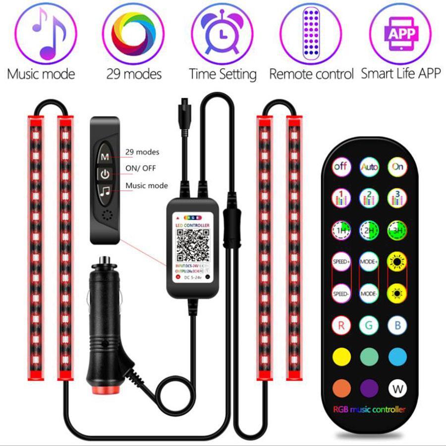 Luci auto LED Striscia interno con APP e remoto, 4 pezzi impermeabili 72 Kit di illuminazione a LED Car sotto il cruscotto, cambiamento di colore con la musica