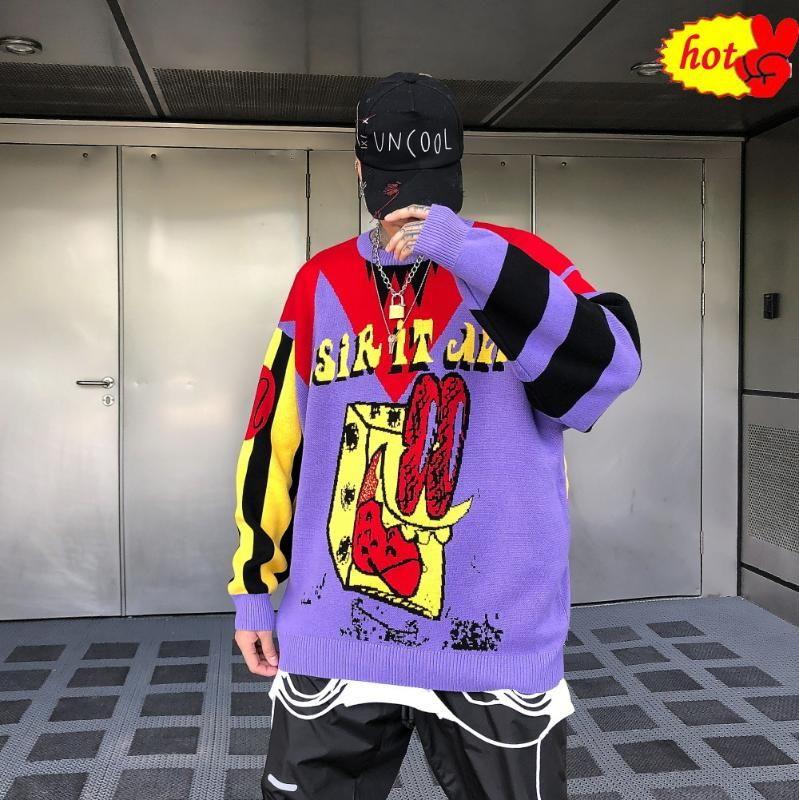 Escudo de Hip Hop Moda púrpura suéter de punto suéteres de punto de los hombres Ropa tapas flojas Harajuku suéteres hombres Streetwear otoño