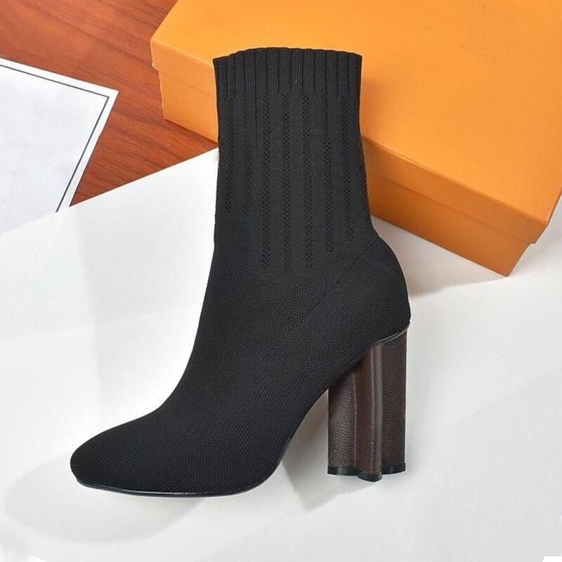 ربيع الخريف محبوك مرونة الأحذية إلكتروني كعب سميك جنسي أحذية المرأة أحذية عالية الكعب الجوارب والأحذية أزياء سيدة الكعوب العالية حجم كبير 35-42