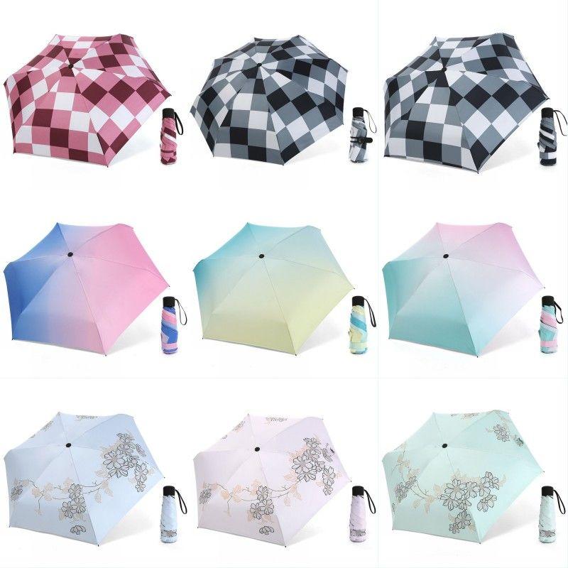 Folding Weibliche Winddichtes Sonnenschirm Blumenmuster Mini Frauen im Freien UV-Proof-Regen-Regenschirm Folding Frauen Sonnenschutz Schirme