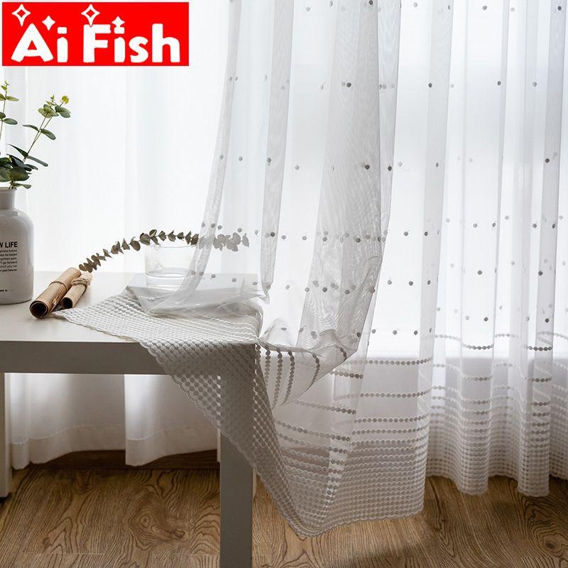 Endless Stripe schermo Sheer tende in tessuto Nordic Simple White Sheer pannello tende di tulle tenda vivente M094-50 Y200421