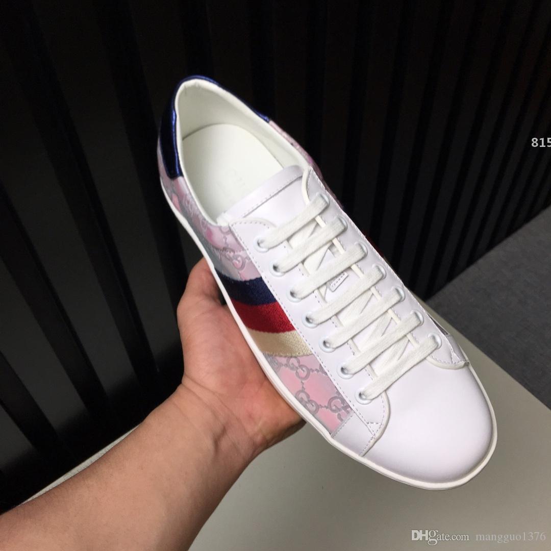 di design di lusso 815 laser caldo di vendita !!! Moda Scarpe uomo bianco di alta qualità cuoio genuino di comoda piana di moda le scarpe da tennis di lusso Blu Rosso
