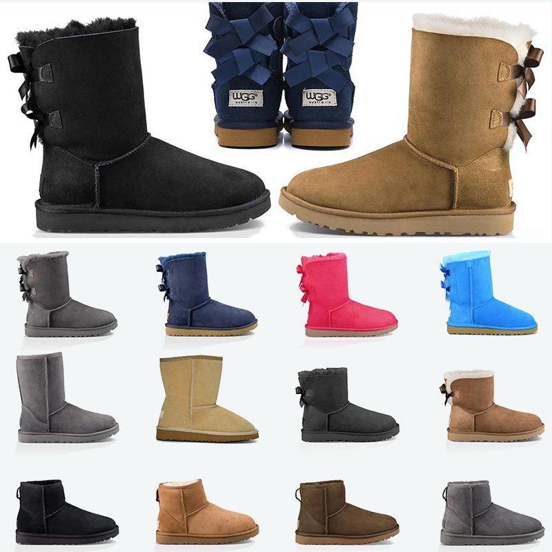 ugg uggs Yeni Hakiki Deri Bayan Ayak bileği botları Haki Gri patik Siyah Lacivert platform ayakkabı tasarımcısı kar kış çizme klasik eğitmen spor ayakkabı