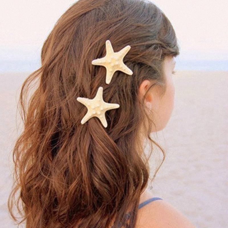 Forêt Naturel Vrai Vrai Starfish Star Star Star Clamp BangBill Clip Bang Pince à cheveux DIY ZL7D #