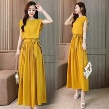 fino de cor sólida vestido elástica vestido sem mangas cintura 2020 verão nova moda de estilo das mulheres boutique coreano emagrecimento para senhoras