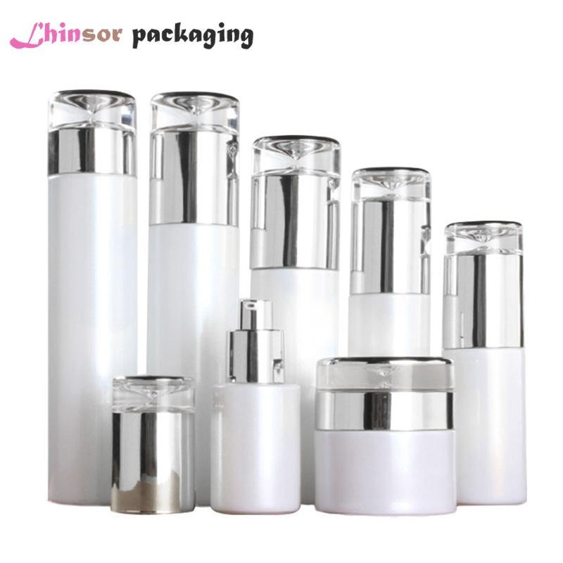 5 adet / lot İnci Beyaz Cam Gümüş Kapak Sprey Losyon Basın Pompası Şişeler Krem Kavanozlar Yüksek dereceli Kozmetik Kapları Packaging