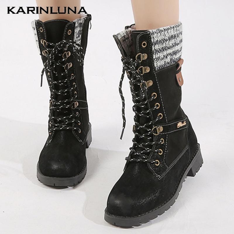 Karin Новые Большие размеры 43 Лоскутная Урожай женщина зимы обувь середины икры сапоги езда