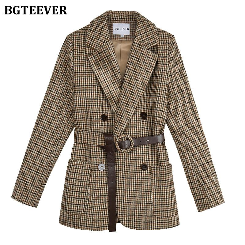 BGTEEVER Vintage Houndstooth Women Blazer Sashes Double-breasted Plaid Female Suit Jacket Long Sleeve Pockets blaser femme 2020 T200817