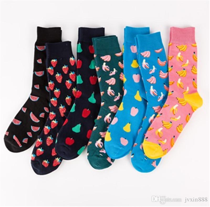Красочные носки моды хлопка жаккардовых носков Счастливых фруктов носки с бананом груши клубники арбузом