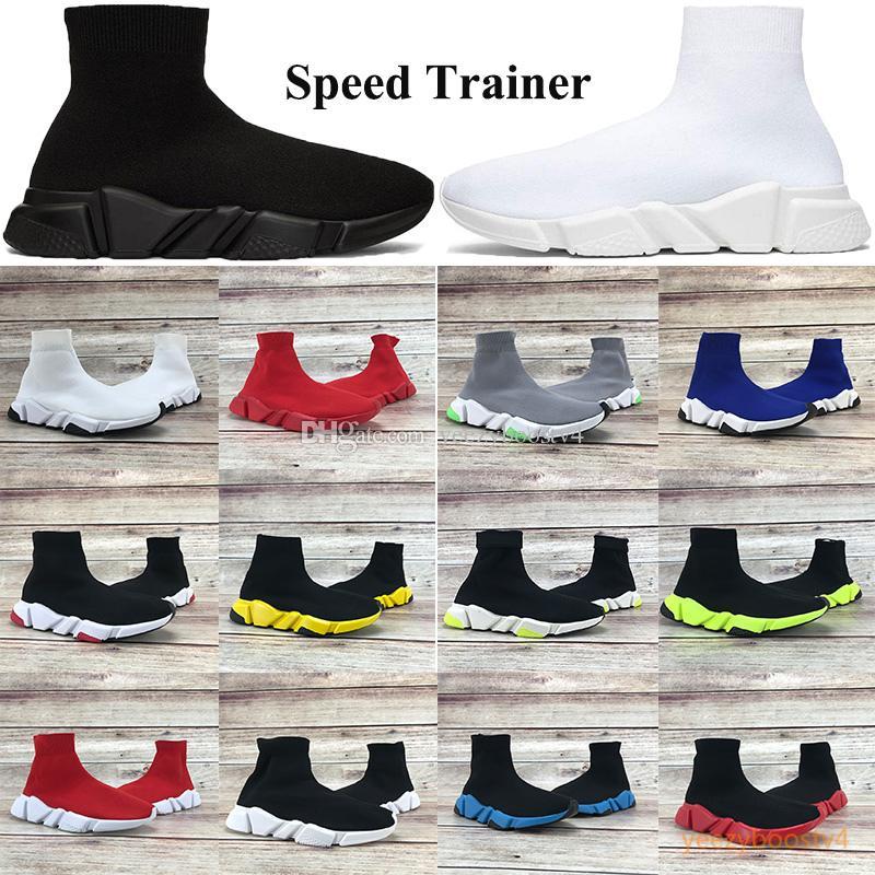 2019 Speed Trainer Sapatos de de Luxo Partido Preto Branco Vermelho Alta Sapatos Meias Mens Moda Feminina Botas Triplo Preto Casual Sapatos