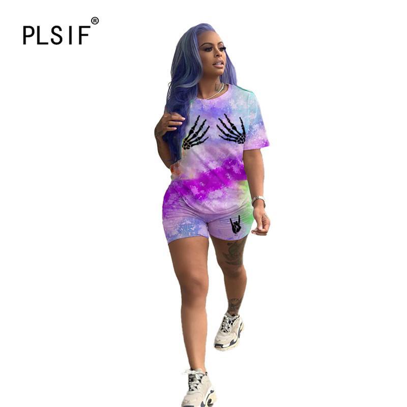 горячая продажа о градиентной шее цвета женщин короткий рукава набор 2 шт топы и шорты костюм леди случайных спортивных наряды