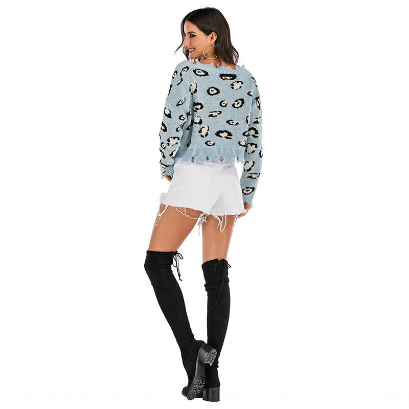 Htjlk 2020 faul und winter leopard pullover pullover kurze gestrickte pullover frauen pullover druck herbst stil