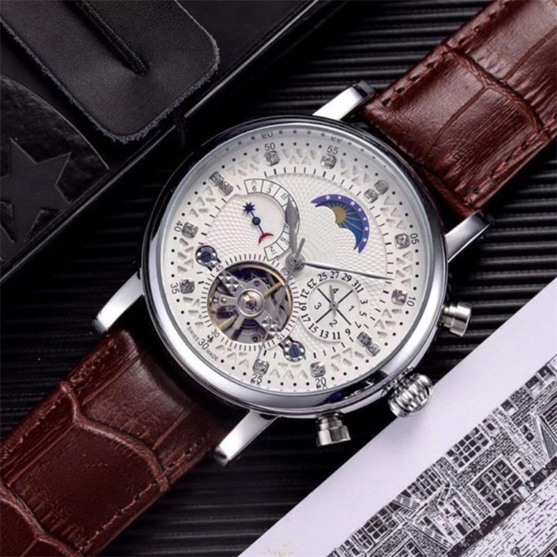 أزياء 42 ملليمتر السويسرية ووتش ph33 الجلود توربيون ووتش التلقائي الرجال ساعة اليد الميكانيكية الصلب الساعات relogio masculino ساعة