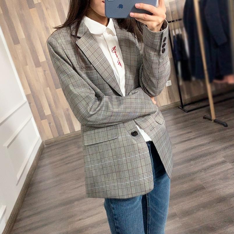 N86oE 20 CHIC yeni Kore tarzı gevşek sayacı bahar ceket gündelik kadın takım elbise ceket J733 ekose