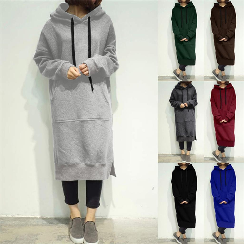 Women Winter Warm Hooded Hoodie Baggy Pullover Oversize Sweatshirt Long Dress sweatshirt hoodies Women Drop Shipping