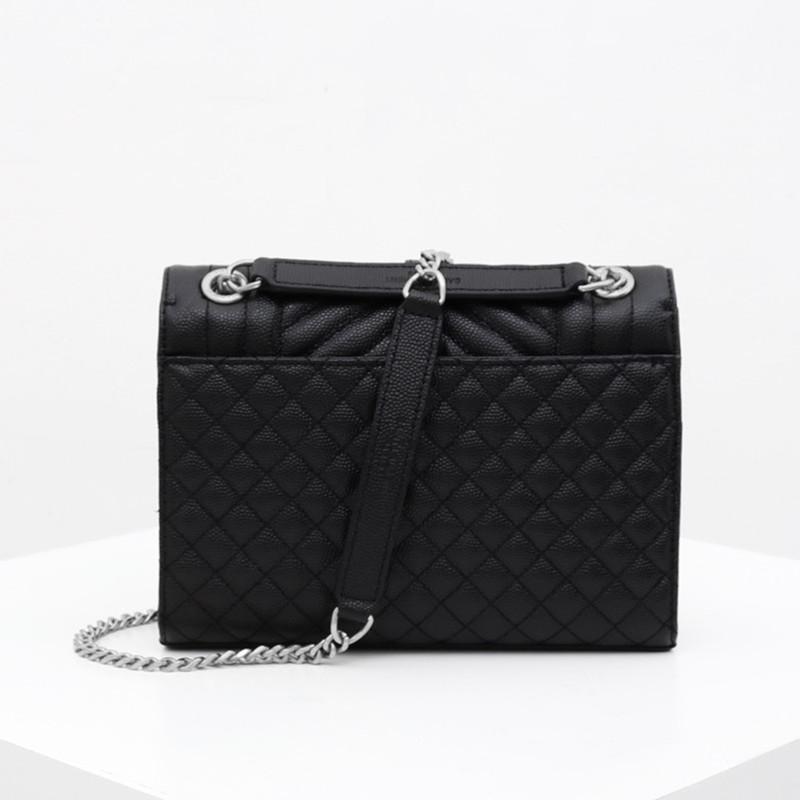 Luxury Fashion Designer Genuine Leather V-Plaid Diamond Lattice Elegant Envelope Bag Shoulder Bag with Chain Women Flap Handbag