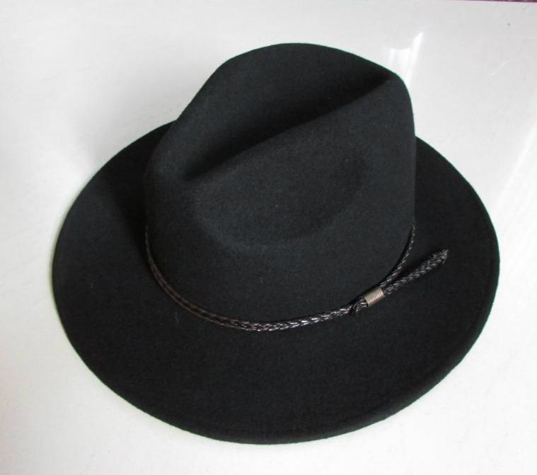 Novo 100% lã impermeável livre de rugas de Fedoras Hat Homens Equestrian chapéu de lã Brim Cavaleiro Cowboy Cap Gentleman B-8121