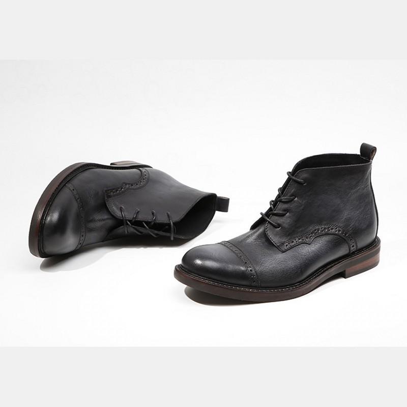 Vintage 100% cuero auténtico Seguridad tobillo de los hombres zapatos de punta hecha a mano Brogue la extremidad de ala botines Ronda retro ata arranca