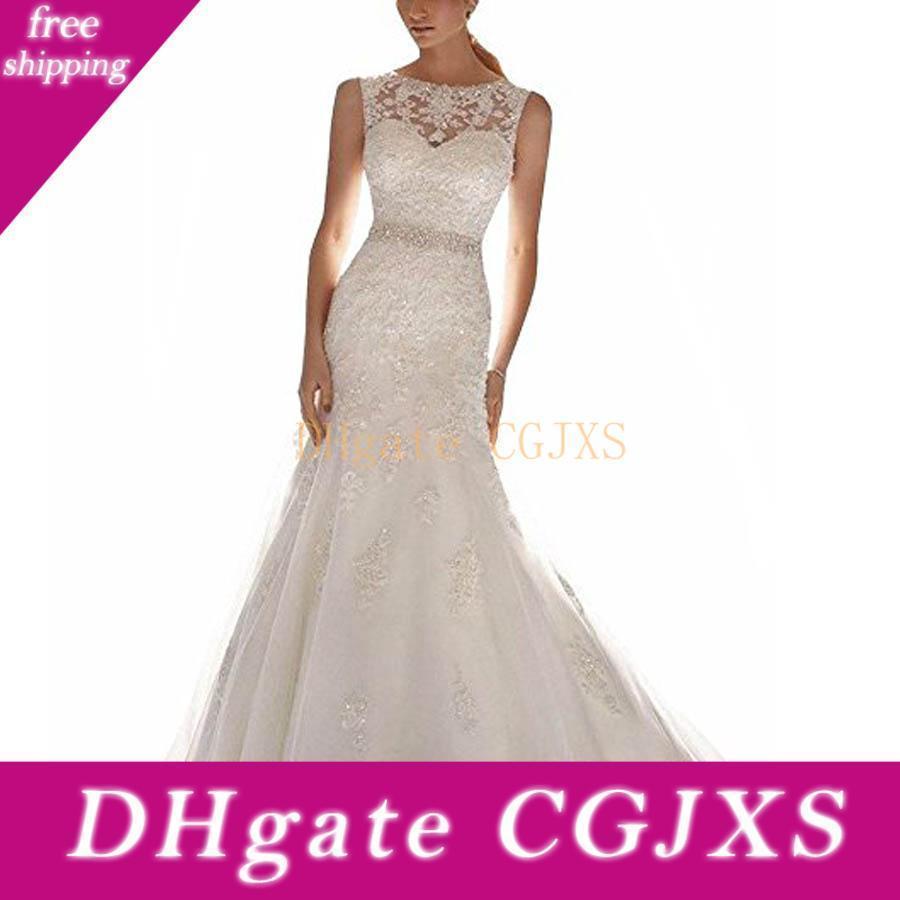 Últimas vestido sem mangas Lace apliques Mermaid Dress vestido de casamento nupcial do pescoço da colher Lace casamento com Trem Tribunal Vestidos De Novia