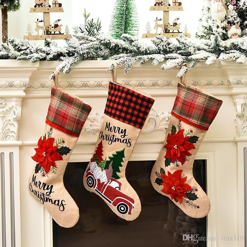 2020 saco do presente novo do Natal decorativo Meias de Natal vermelho dos desenhos animados Carro de Papai Noel meias 3 estilos T3I51026