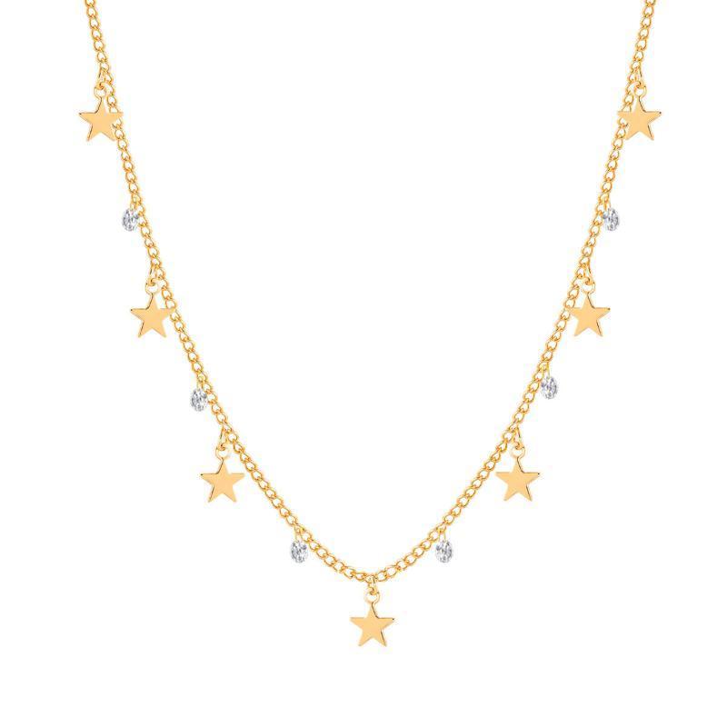 Einfacher Zircon Stern Halskette Charme-Frauen modisches elegantes Claviclekettenhalskette Collier Femme