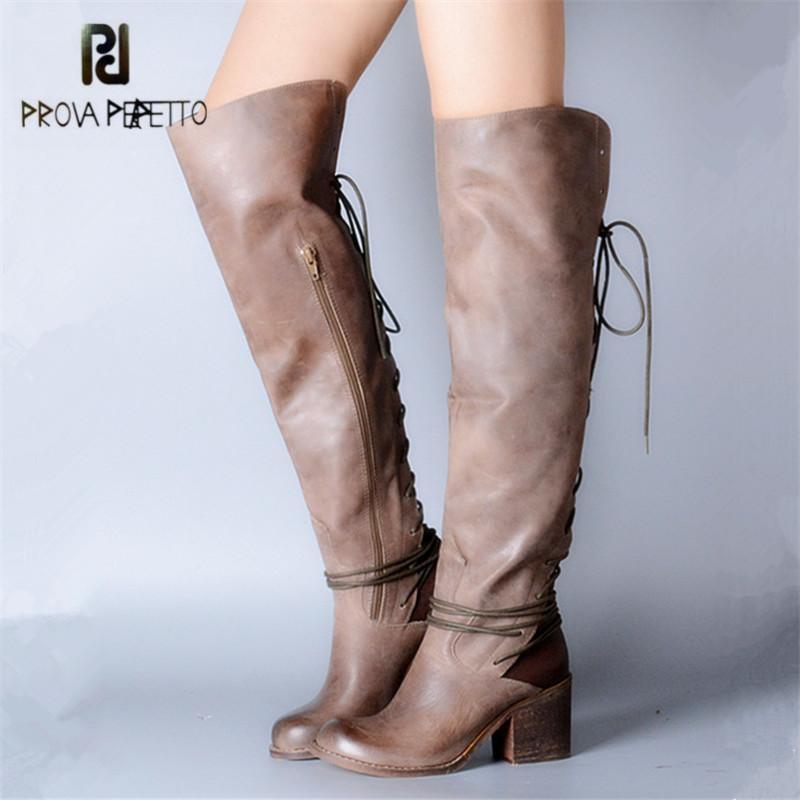 여성 돌아 가기 레이스 업 광장 높은 뒤꿈치 Botas 보낸 여성 허벅지 높은 부츠 겨울 따뜻한 신발에 대한 PROVA PERFETTO 섹시한 위에 무릎 부츠