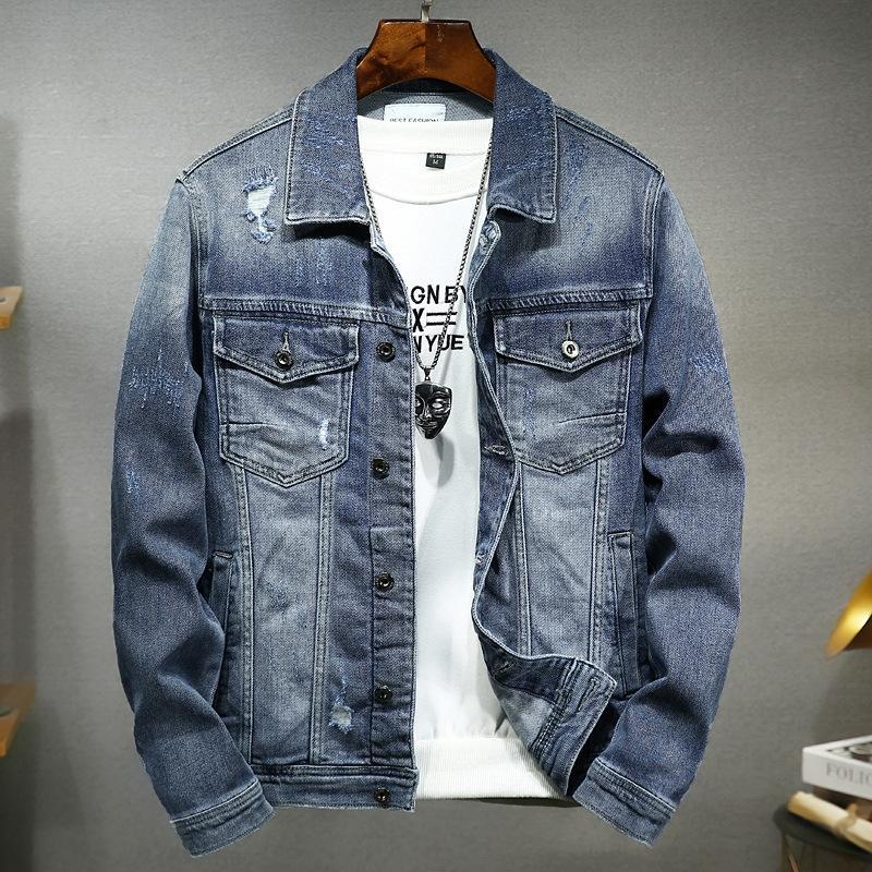 Primavera nuovo cotone denim bello giacca di jeans giacca casual foro alla moda maschile degli uomini di fascia alta 2102 p2Blb