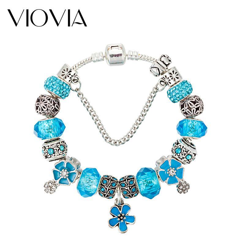 VIOVIA Accessori per gioielli fascino del fiore cristallo braccialetto misura i braccialetti blu originali per monili delle donne fai da te regalo B17029