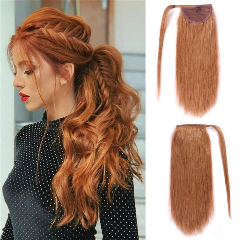Real Remy Human Hair Clip in Ponytail Extensions Strawberry Blonde Wrap Around Hair Ponytail Slik Straight Virgin Brazilian Ponytail hair