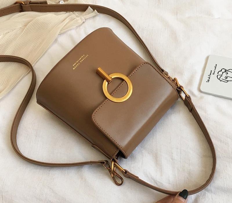 Старшая сумка SATCHEL BELLE2020 Почувствуйте женщину Western Bucket02 Кабельная сумочка Стиль текстуры All-Match Pittw