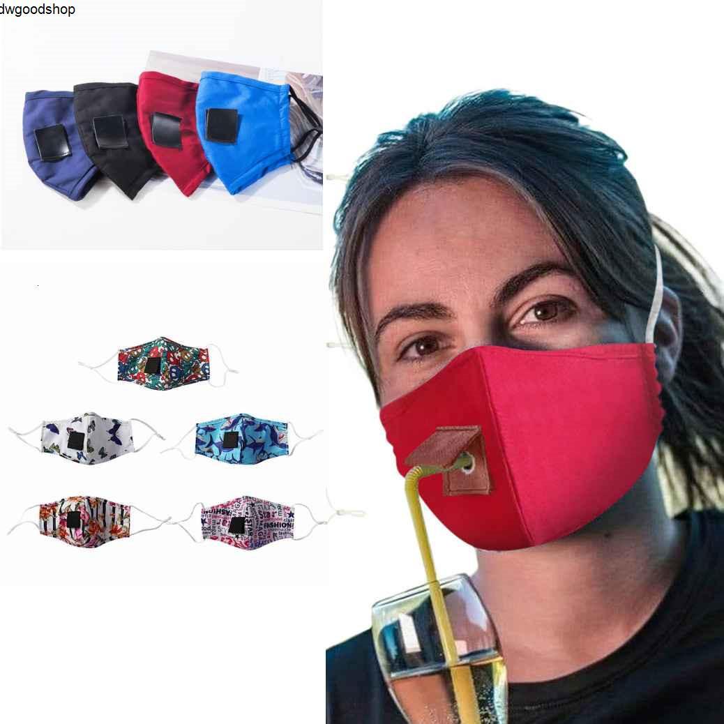 auf Lager Einstellbare Double-Layer-Getränk Baumwolltuch Gesicht Staubdichtes Maske Invisible Straw Wiederverwendbare Masken Fy6092