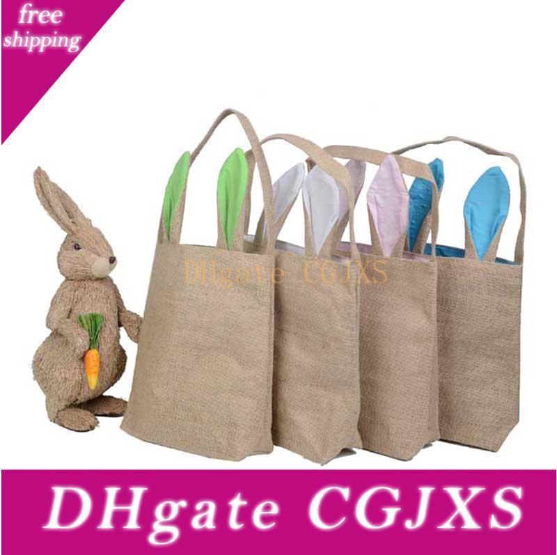 14 colores Ins arpillera cesta de Pascua con orejas de conejo Orejas de conejo linda cesta oídos de conejo Pascua Bolsa regalo Put huevos de Pascua B001