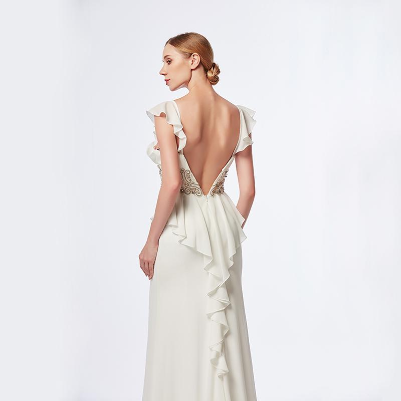 High-end palace style dinner dress, mid-waist hand-beaded to show waist line, lower skirt slit