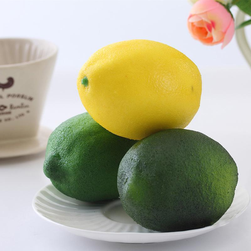 Atacado-1pc Lifelike Simulação Grande Lemons Sólido Frutas Artificial Gabinete Home Decor partido plástico decorativa Falso Mold Fruit Modelo