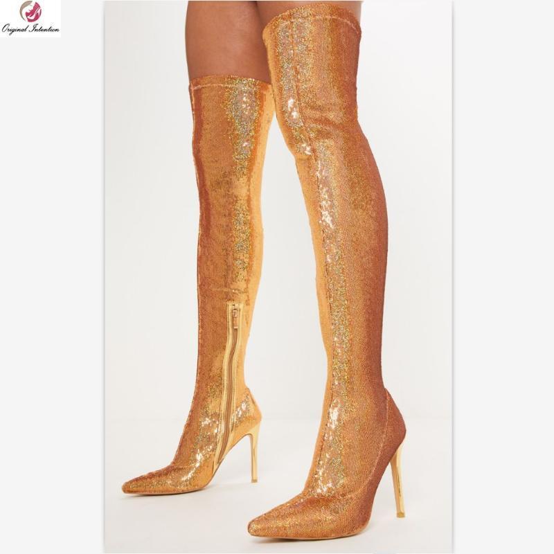 Intención original de la manera estupenda de oro plata de las lentejuelas de caña alta Botas mujer punta estrecha elegantes tacones finos de los altos calcetín largo Botas