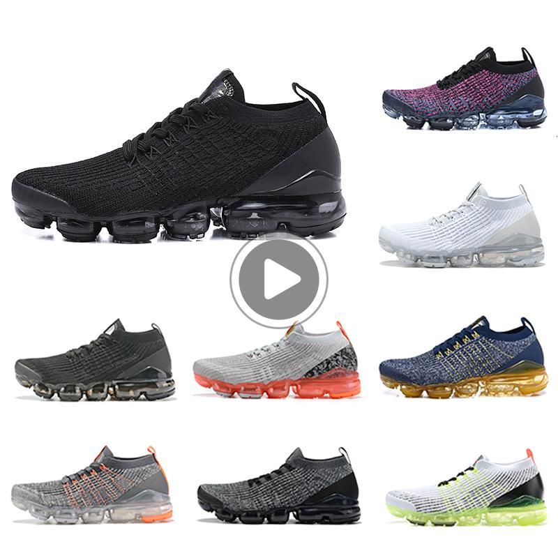 Almofada Fly 3.0 Homens Mulheres Running Shoes Multicolor Preto Branco Azul Knit 3S Jogging Designer Esporte Sneakers US5.5-11 W68N