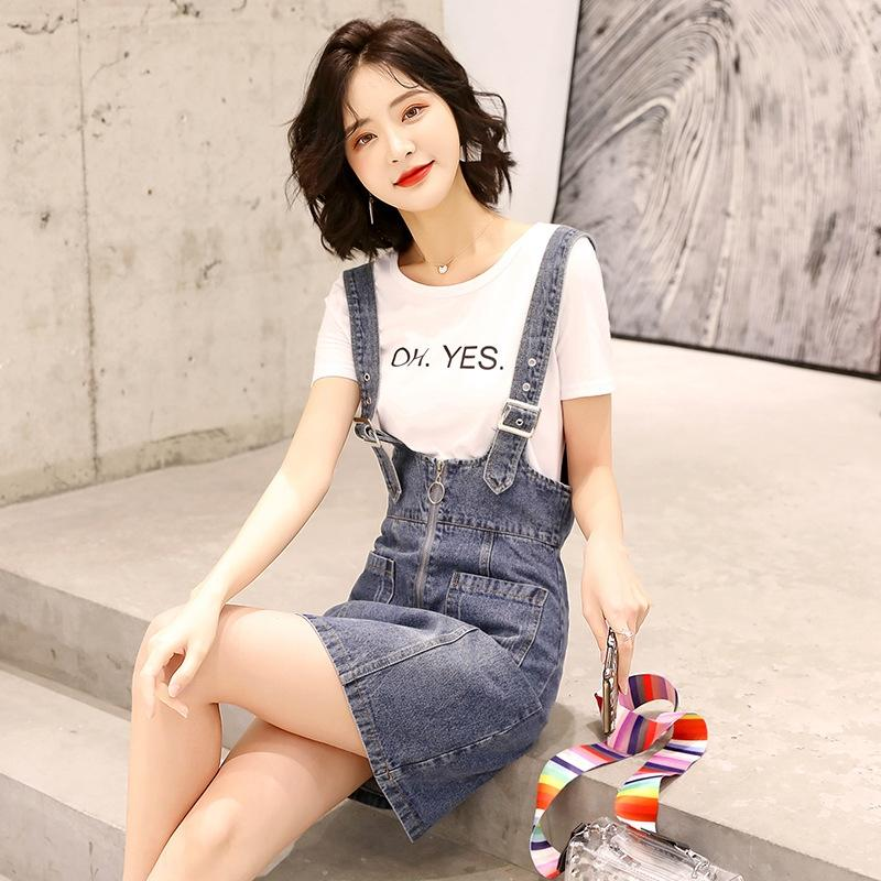 Kadınlar için Jr1KN MyTEZ askı rahat seti Kore Yaz 2020 tarzı askı kot etek moda tişört iki parçalı zayıflama New