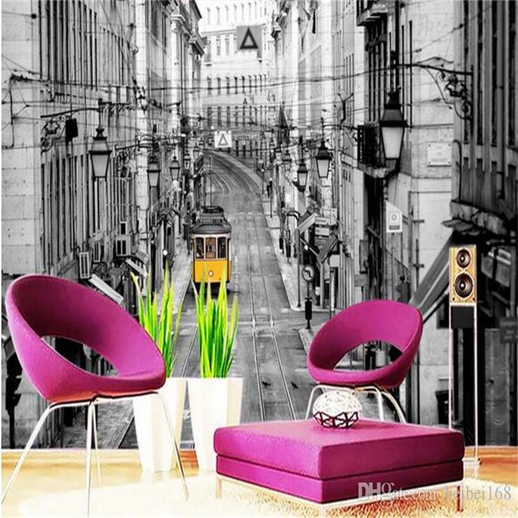 European Vintage Street Car Landscape 3d wallpapers for wall Photo Murals Wallpaper Wall Paper for Living Room TV Background
