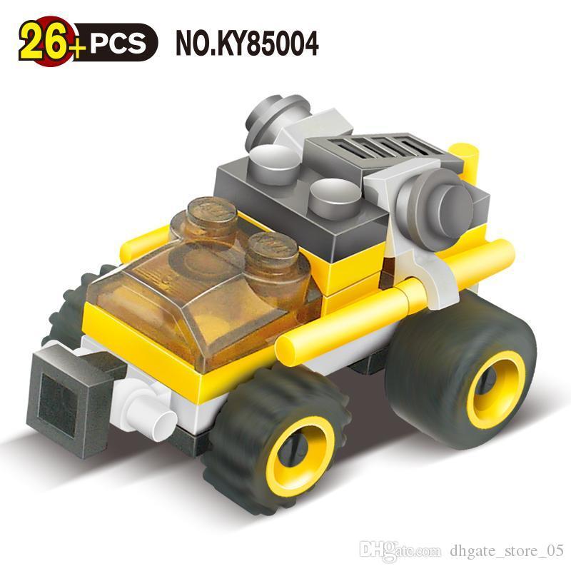 brinquedo do miúdo 26 + pcs mini-amarelo brinquedo bloco série de carros de corrida para brinquedo de criança presente do miúdo 04