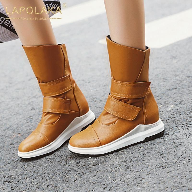 Lapolaka 2020 la venta caliente de gran tamaño 43 talones de cuña calientes zapatos botas de invierno mujer hookloop cómodo nieve Botas Mujer
