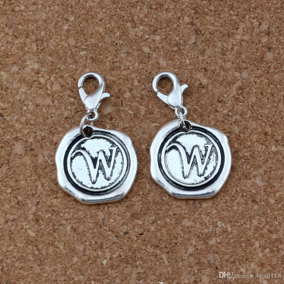 "Letter Disc "" W"" Alphabet Initial Floating Lobster Clasps Charm Beads Fit Charm Bracelet DIY Jewelry 18x32.5mm Antique Silver"